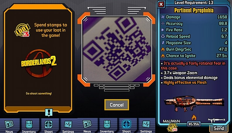 Borderlands 2 mobile app turns QR codes into absurd in-game armaments (update: how it works!)