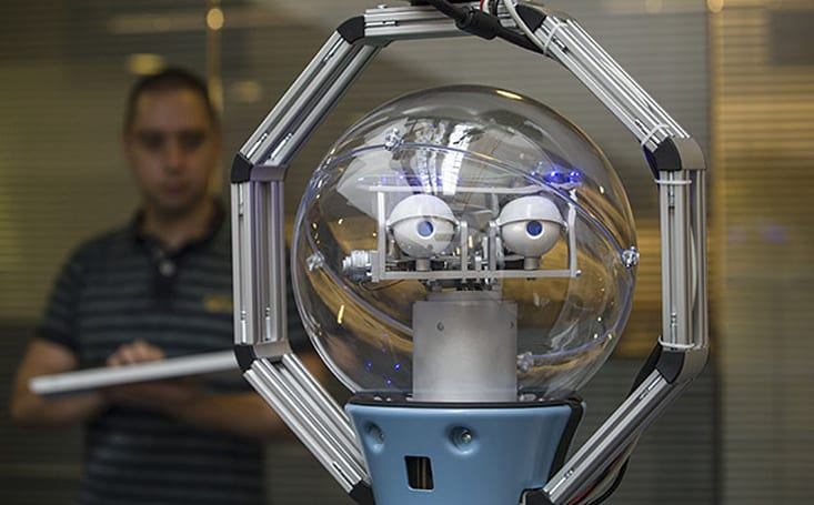 This robot guard keeps an unblinking eye on suspicious activities
