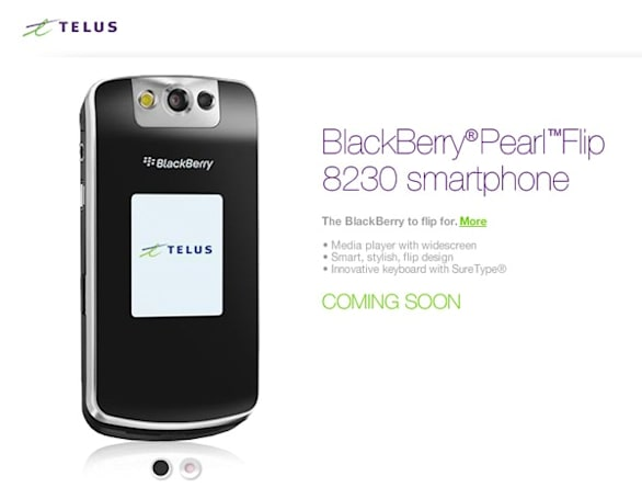 Telus' BlackBerry Pearl Flip 8230 appears on site, launch imminent