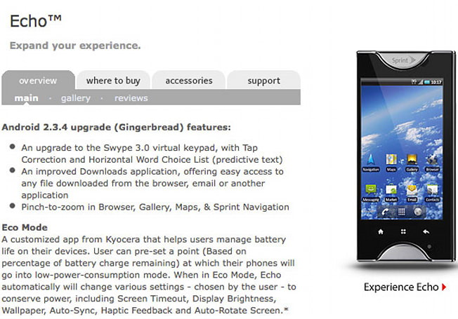 Kyocera Echo resumes rollout of Gingerbread, without the bricking