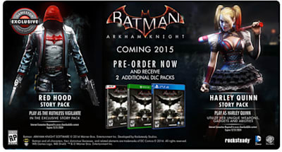 Batman: Arkham Knight Red Hood DLC exclusive to GameStop