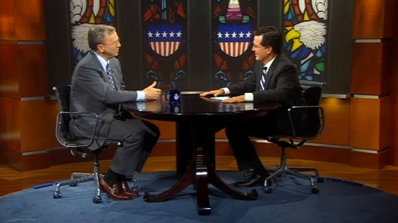 Google's Eric Schmidt faces off with Stephen Colbert