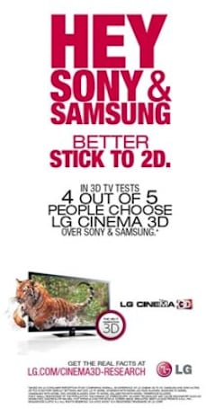 LG claims 4 out of 5 viewers prefer its 3D to Sony or Samsung, whips up some new ads