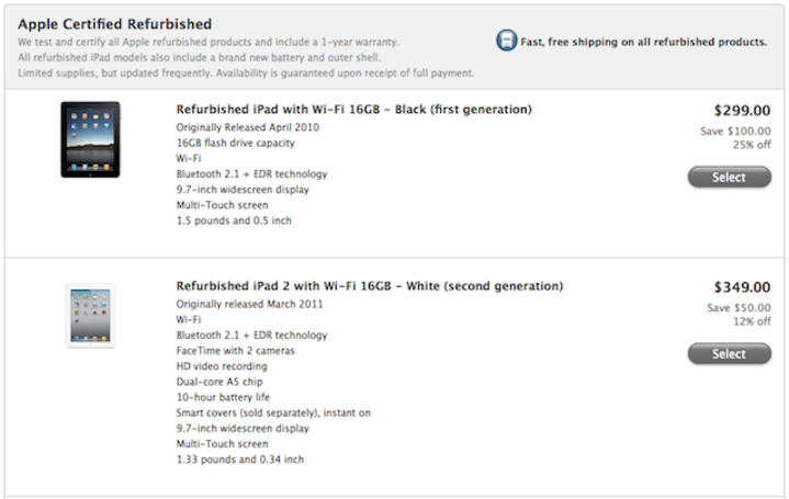 Apple clearing out the old to make way for the new, selling iPad refurbs starting at $299
