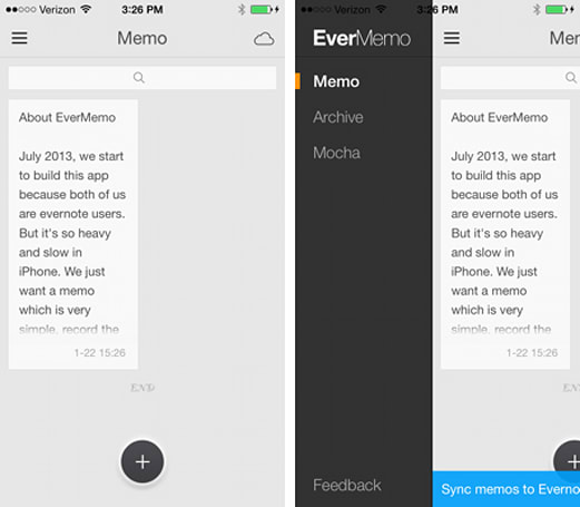EverMemo is an Evernote memo app for sporadic note-takers