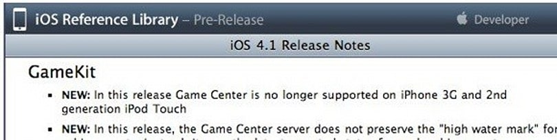 Game Center not supported on iPhone 3G and second gen iPod touch