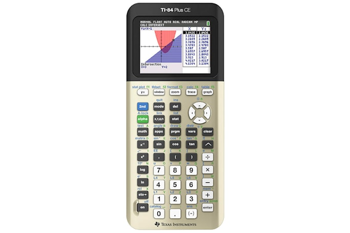 Texas Instruments has a gold-hued graphing calculator