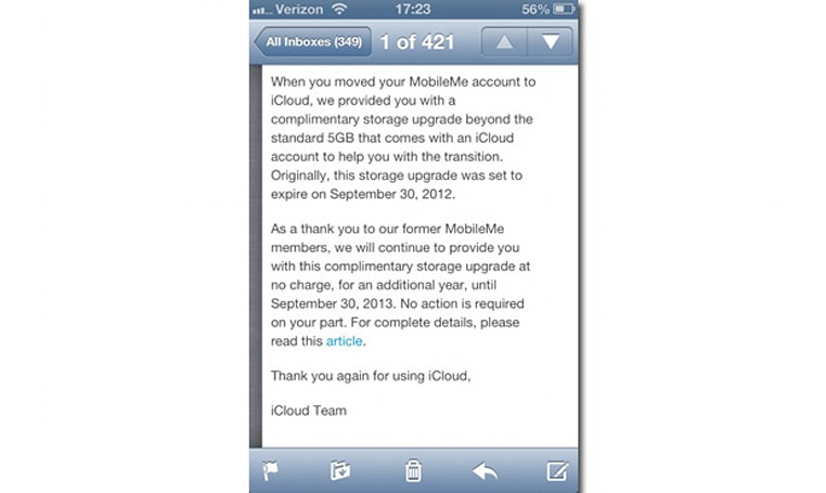 Apple extends iCloud storage upgrade for MobileMe users another year