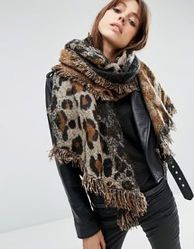 Oversized Long Woven Scarf In Natural Leopard