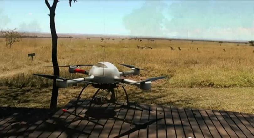 Microdrones' flying robot films African wildlife, finds peace with nature