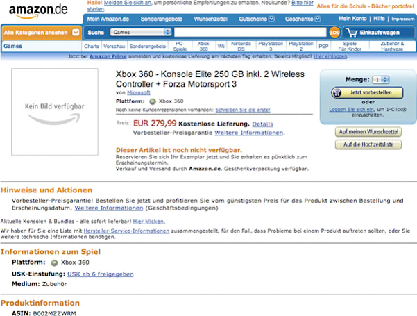 Xbox 360 with 250GB HDD and Forza 3 spotted on Amazon Germany