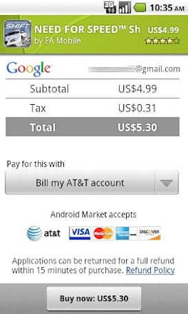 Google adds AT&T billing to Android Market payment options