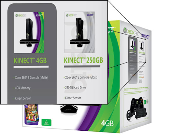 250GB Xbox Kinect bundle spotted on 4GB bundle packaging