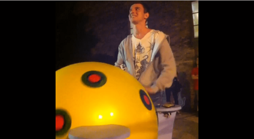 Giant Katamari controller crafted from yoga ball, dreams