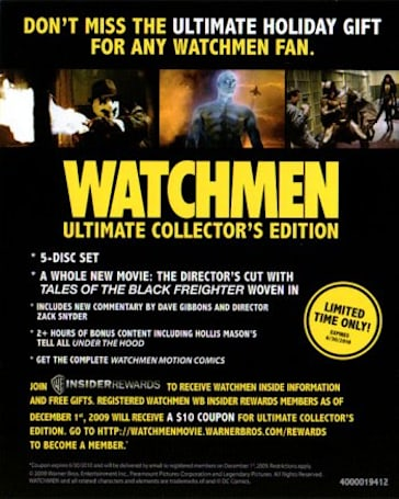 Watchmen 5 disc UCE scheduled for the holidays