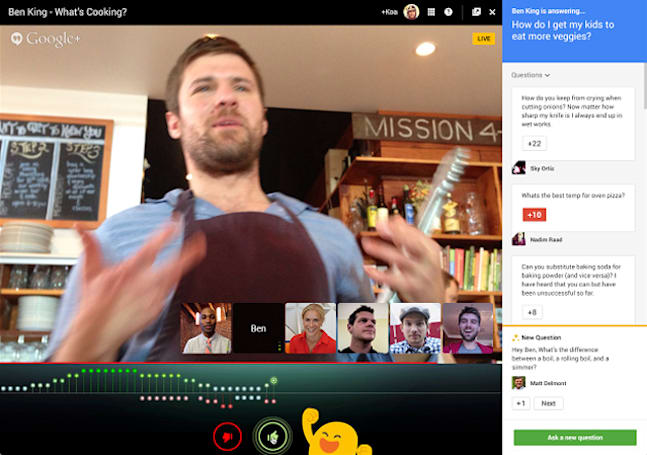 Applause for Google Hangouts lets you give live broadcasts a thumbs up
