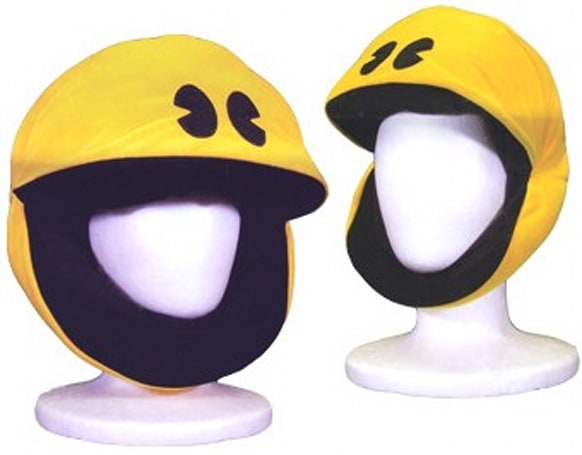 Plush Pac-Man headgear munches on ghosts