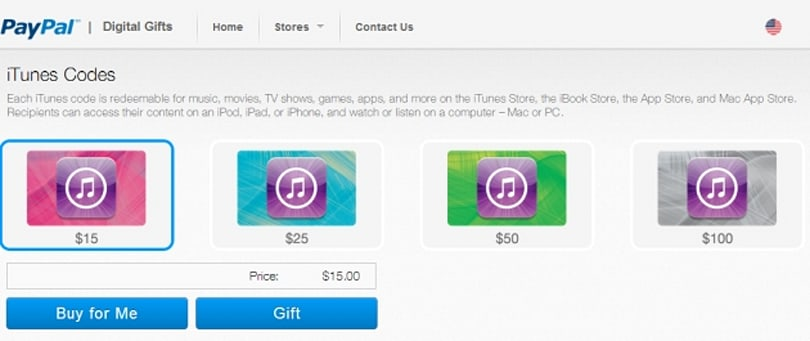 PayPal launches digital gift card store, boasts iTunes as its first partner