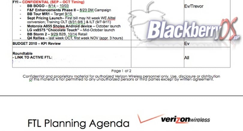 Leaked Verizon docs point to October launch for Storm 2, Motorola Sholes, LG VX8575
