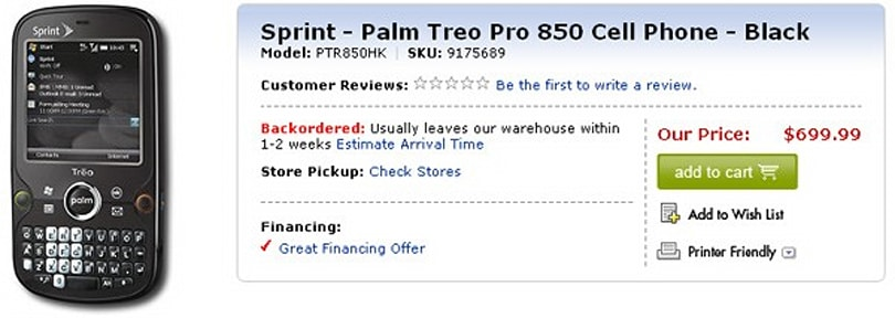 Sprint Treo Pro now on sale at Best Buy