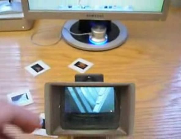 35mm slide viewer hacked to enhance iPod nano viewing
