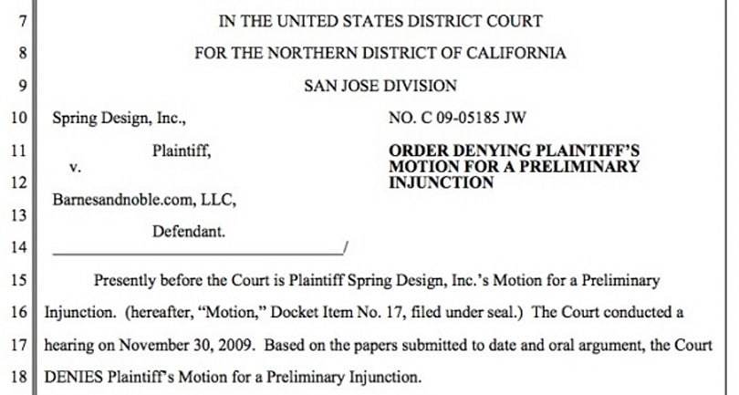 Spring Design denied injunction on sales of Barnes & Noble Nook
