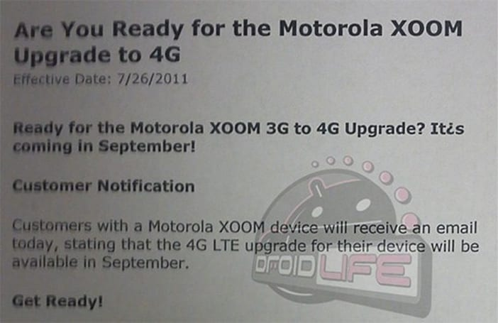 Leaked memo slates Xoom 4G upgrade for September, early adopters weep (updated)