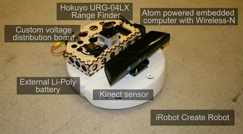 Kinect sensor bolted to an iRobot Create, starts looking for trouble