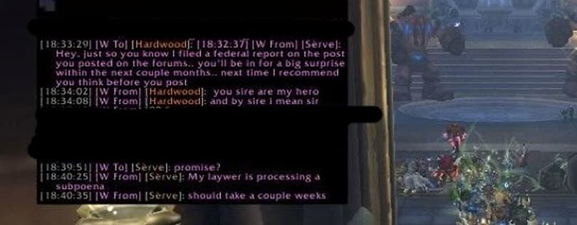 "Guildwatch: ""My laywer is processing a subpoena"""