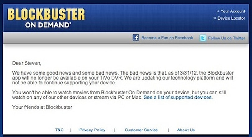 Blockbuster On Demand pulls back from TiVo and others, is it on its way out?