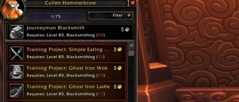 Gold Capped: Leveling blacksmithing just got easier