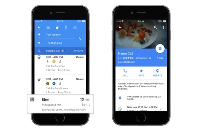 Google Maps app gets overhauled, adds Uber and Opentable