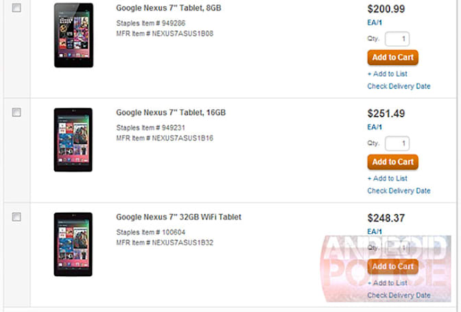 32GB Nexus 7 surfaces on Staples' business portal, roughly matches 16GB model's price