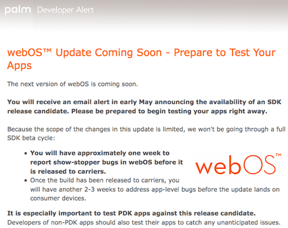 webOS 1.4.5 reportedly coming any day now... except for AT&T users