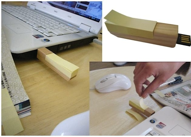 Wooden 2GB thumb drive doubles as Post-It Notes dispenser