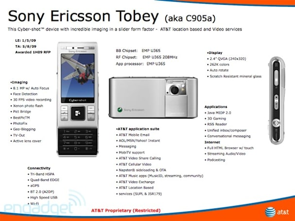 """Sony Ericsson's """"Bruce"""" and """"Tobey"""" C905a pictured with AT&T in mind"""