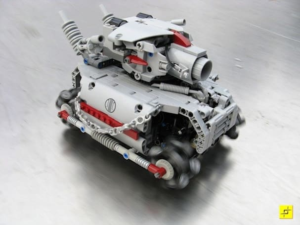 Lego RC tank captured in action by Lego RC camera rig