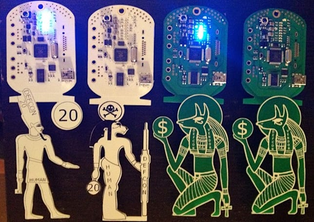 Defcon 20 badges meld hieroglyphs, circuitry and cryptography for hacker scavenger hunt