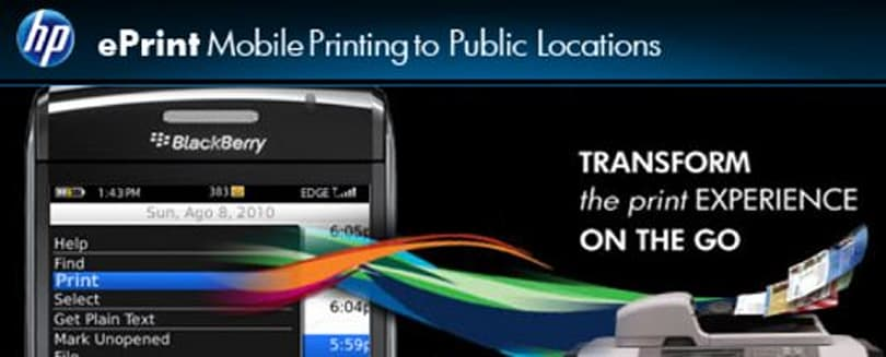 HP ePrint BlackBerry app brings mobile printing to FedEx Office, Hilton hotels, and more