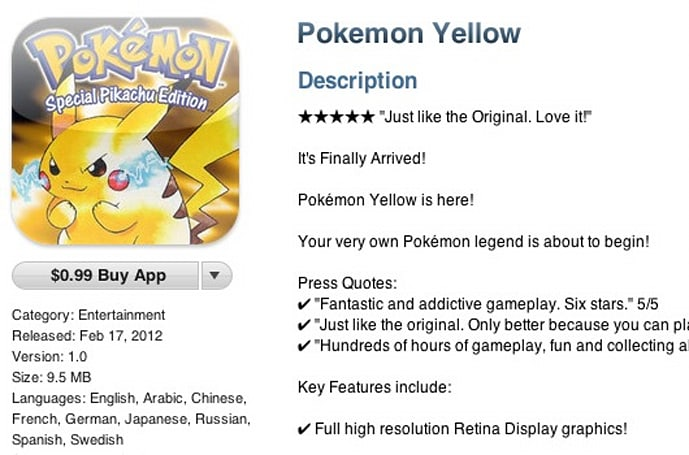 Fake Pokemon Yellow ends up on iOS App Store