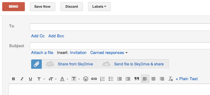 Browser extension enables SkyDrive attachments within Gmail