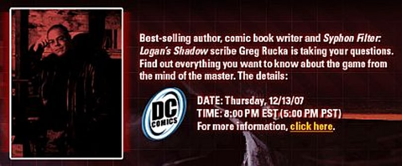 Greg Rucka live chat tonight at 8PM EST