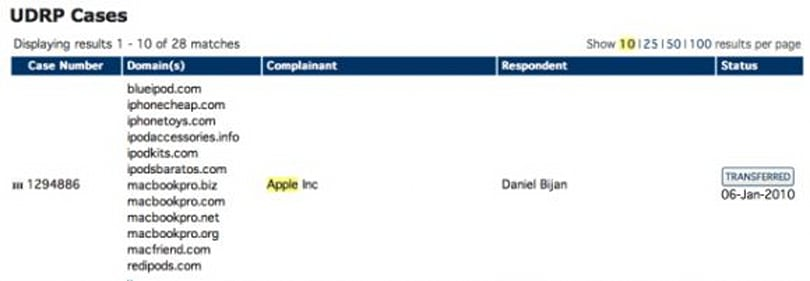 Apple seizes 16 domain names from squatter
