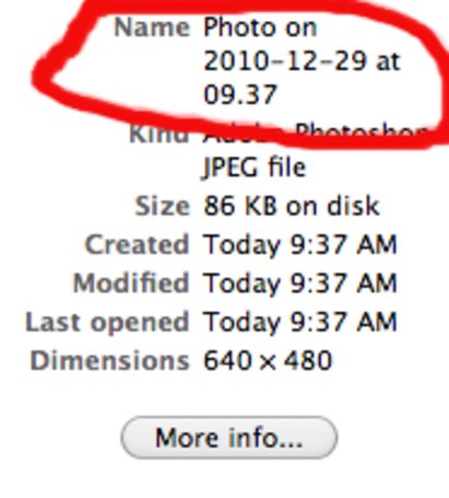 Beware Photo Booth time stamps: It's a bug, not a feature.