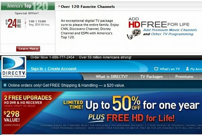 "DirecTV, DISH offer ""free HD for life"" with a few strings -- anyone signing up?"