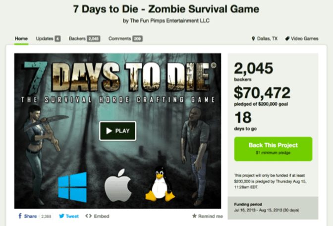 7 Days to Die smells blood, rushes to Kickstarter