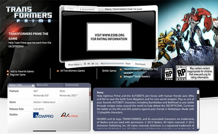 Transformers Prime also coming to Wii U, Activision site says