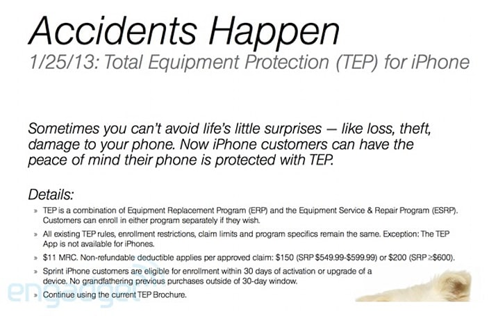 Sprint offering Total Equipment insurance for iPhone on January 25th (update)
