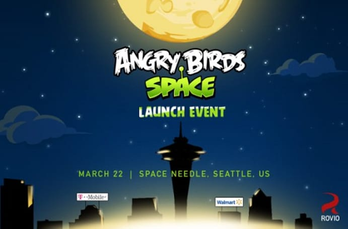 Angry Birds Space marketing crafts a giant weapon on the Space Needle