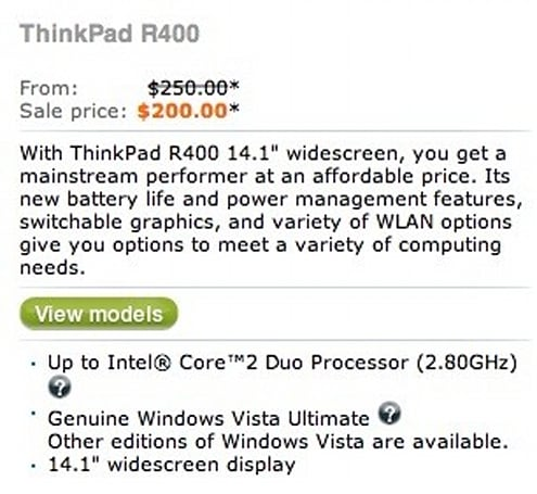Lenovo's WTF of the day: ThinkPad R400 for $200, marked down from $250!